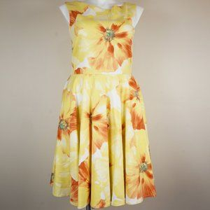 Emily Hallman Millie Dress Yellow Orange Floral